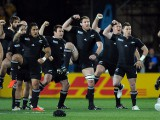The All Blacks perform the Haka during the All Blacks v Australia Semi Final match of the 2011 IRB Rugby World Cup. Eden Park, Auckland, New Zealand. Sunday 16 October 2011. Photo: Andrew Cornaga/ Photosport.co.nz