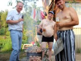 men barbequing