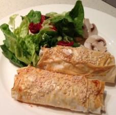 curried kumara and lentil filo parcels