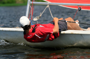Man sailing into the wind